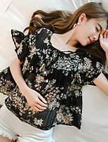 Women's Casual/Daily Simple Blouse,Floral Round Neck Short Sleeve Polyester