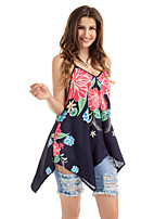 Women's Stage Going out Boho Summer T-shirt,Print Strap Sleeveless Polyester Spandex Medium