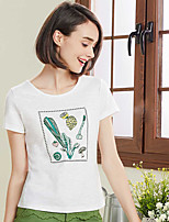 I BELIEVE YOUWomen's Casual/Daily Simple T-shirtStriped Round Neck Short Sleeve Cotton