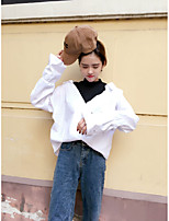 Women's Casual/Daily Sexy Simple Street chic Spring Summer Shirt,Patchwork Shirt Collar Long Sleeve Cotton Thin