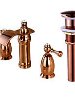 Widespread Waterfall Two Handles Three Holes for  Rose Gold , Bathroom Sink Faucet