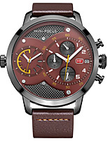 Men's Dress Watch Fashion Watch Quartz Genuine Leather Band Luxury Casual Black Brown