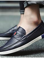 Men's Loafers & Slip-Ons Comfort Cowhide Spring Casual Black Brown Blue Flat