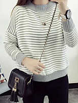 Women's Casual/Daily Simple Street chic Regular Pullover,Striped Round Neck Long Sleeve Others Fall Winter Medium Micro-elastic