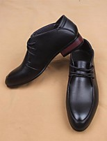 Для мужчин Туфли на шнуровке Удобная обувь Натуральная кожа Тюль Весна Повседневные Удобная обувь Черный На плоской подошве