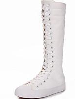 Для женщин На плокой подошве Удобная обувь Полотно Весна Повседневный Белый Черный На плоской подошве