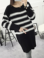 Women's Casual/Daily Long Pullover,Striped Round Neck ½ Length Sleeve Cotton Spring Fall Medium Micro-elastic