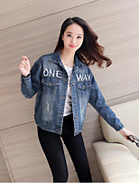 Women's Going out Casual/Daily Simple Street chic Spring Denim Jacket,Letter Shirt Collar Long Sleeve Regular Cotton