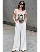 Tee-shirt Femme,Couleur Pleine Imprimé Quotidien Décontracté simple Manches Courtes Col Arrondi Coton