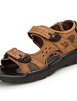 Men's Sandals PU Spring Summer Low Heel Dark Brown Khaki Under 1in