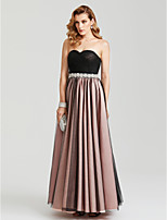 2017 Evening Party Formal Dress - Color Block A-line Sweetheart Floor-length Satin Tulle with Beading Bow(s) Sash / Ribbon Pleats Criss Cross