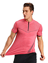 Men's Short Sleeve Stand-up Collar T-shirts Compression Breathable Comfortable Tops for Sports Outdoor Running