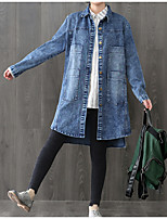 Women's Casual/Daily Simple Fall Denim Jacket,Solid Round Neck Long Sleeve Long Linen