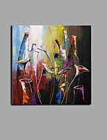 Hand-Painted Knife Abstract wine bottle And Wine Glass Oil Painting Bar Wall Art With Stretcher Frame Ready To Hang