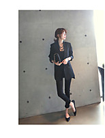 Women's Going out Casual/Daily Cute Street chic Spring Fall Blazer,Solid V Neck Long Sleeve Regular Rayon