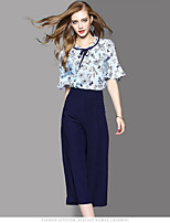 OYCP Women's Daily Contemporary Summer Blouse Skirt Suits,Floral Round Neck Short Sleeve