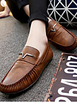 Men's Loafers & Slip-Ons Comfort Leather Tulle Spring Casual Khaki Light Brown Blue Black Flat
