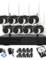 YanSe® 2TB HDD 8CH 960P Waterproof Wireless Wi-Fi IP camera NVR Kits IR DVR System 1.3MP CCTV Camera