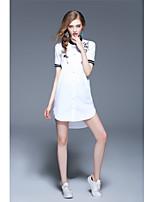 Для женщин На каждый день Праздник Простое Уличный стиль Рубашка Платье Вышивка,Воротник-стойка Выше колена С короткими рукавами Хлопок