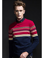 Men's Going out Casual/Daily Regular Pullover,Solid Round Neck Long Sleeve Cotton Spring Fall Medium Micro-elastic
