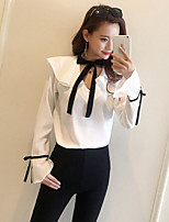 Women's Going out Sexy Blouse,Solid V Neck Long Sleeve Polyester