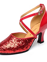 Non Customizable Women's Latin Paillette Heels Indoor Sequin Buckle Cuban Heel Red 2