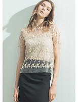 Tee-shirt Femme,Imprimé Décontracté simple Manches Courtes Col Arrondi Polyester Nylon