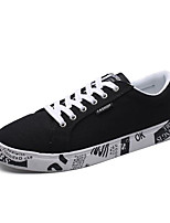 Men's Sneakers Canvas Spring White Black Light Grey Flat