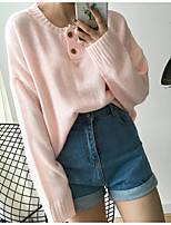Women's Casual/Daily Simple Regular Pullover,Solid Round Neck Long Sleeve Polyester Spring Medium Micro-elastic