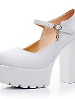 Femme Chaussures à Talons Moccasin Cuir Eté Automne Décontracté Gros Talon Blanc Noir 7,5 à 9,5 cm