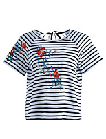 Women's Daily Cute Spring Summer T-shirt,Lines / Waves Embroidery Round Neck Short Sleeve Cotton