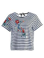T-shirt Da donna Quotidiano Romantico Primavera Estate,Con onde Ricamato Rotonda Cotone Manica corta