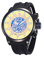 Men's Fashion Watch Mechanical Watch Automatic self-winding Silicone Band Black