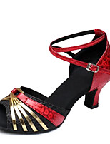 Women's Dance Shoes Sandals Latin Sparkling Glitter Chunky Heel Indoor Red/Gold/Silver