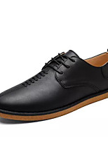 Men's Oxfords Comfort Real Leather Tulle Spring Casual Comfort Black Flat