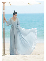 Women's Casual/Daily Swing Dress,Solid V Neck Maxi Long Sleeve Acrylic Summer Low Rise Inelastic Medium