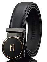 Men's Simple N letters Circular Black Genuine Leather Alloy Automatic Buckle Waist Belt Work/Casual/Party All Seasons