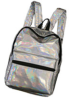 Women Backpack PU All Seasons Casual Round Zipper Silver