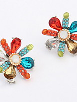 Euramerican Bohemia Multicolor Flower Gem  Earrings Women's Party Stud Earrings Gift Jewelry