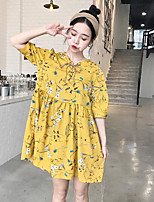 Women's Casual/Daily Simple Chiffon Dress,Floral V Neck Mini Above Knee Short Sleeve Others Spring Summer High Rise Micro-elastic Thin