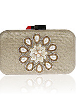 Women Evening Bag Polyester All Seasons Formal Event/Party Wedding Minaudiere Crystal/ Rhinestone Clasp Lock Ruby Silver Black Gold