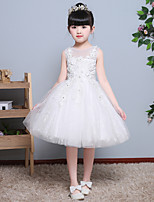 A-line Knee-length Flower Girl Dress - Lace Jewel with Appliques Lace
