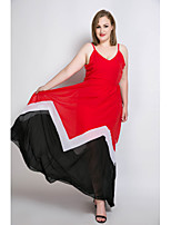 Really Love Women's Plus Size Beach Party Sexy Vintage Street chic Sheath Chiffon Swing Dress,Color Block Patchwork Strap Maxi Sleeveless Polyester