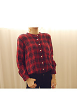 Women's Casual/Daily Simple Shirt,Plaid Shirt Collar Long Sleeve Others