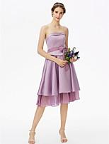 LAN TING BRIDE Ke kolenům Bez ramínek Šaty pro družičky - Otevřená záda Elegantní Bez rukávů Šifón Satén