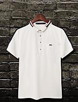 Для мужчин Офис / Карьера Повседневные Лето Polo Рубашечный воротник,Простое Активный Контрастных цветов С короткими рукавами,Хлопок,