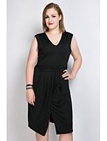 Для женщин Большие размеры На каждый день Праздник Секси Винтаж Очаровательный А-силуэт Прямое Оболочка Платье Однотонный,V-образный вырез