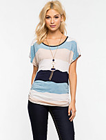 Women's Casual/Daily Simple Summer T-shirt,Striped Round Neck Short Sleeve Polyester Medium