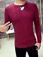 Men's Casual Regular Pullover,Solid Round Neck Long Sleeve Cotton Blend Fall Medium Micro-elastic