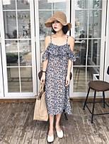 Feminino Solto Vestido,Casual Simples Floral Com Alças Longo Sem Manga Raiom Verão Cintura Alta Micro-Elástica Média